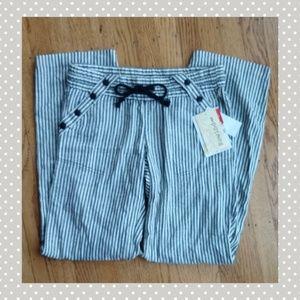 striped drawstring pallazo pants loungewear size 9